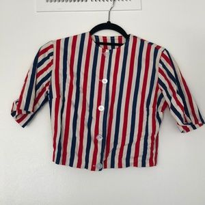 1970s Red White Blue Cropped Top